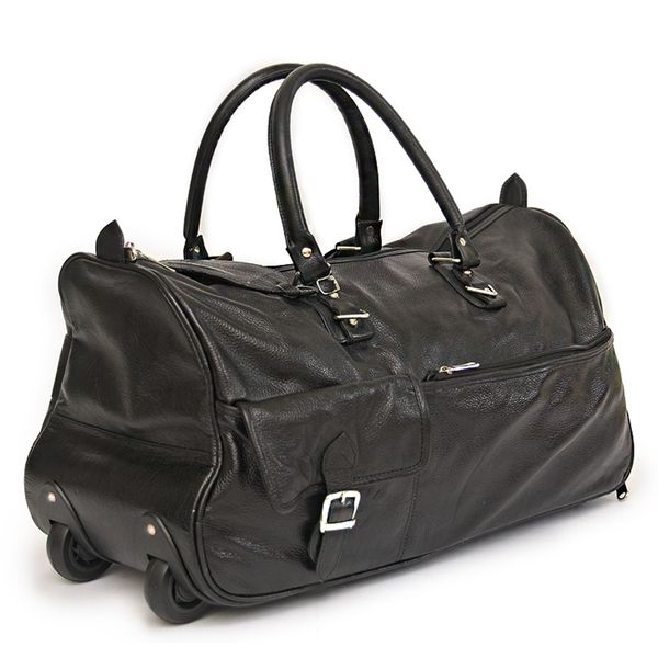 4ed8aa9f772 BLACK LEATHER DUFFLE TROLLEY BAG 22