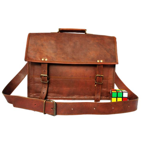 "RUSTICTOWN 15"" HANDMADE LEATHER SATCHEL LAPTOP BAG - HALF FLAP POCKETLESS"
