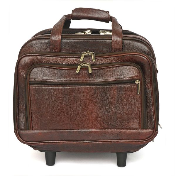 BROWN LEATHER TROLLEY LAPTOP BAG