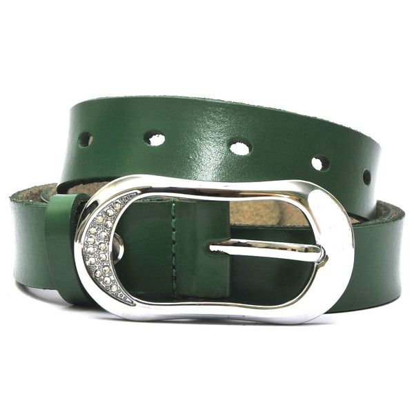 HIDEMARK WOMENS LEATHER BELT WITH STUDDED BUCKLE - GREEN