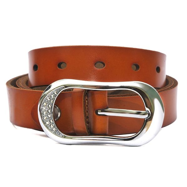 HIDEMARK WOMENS LEATHER BELT WITH STUDDED BUCKLE - BURNT ORANGE