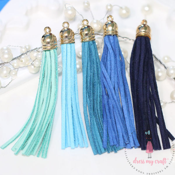 Large Faux Leather Tassel - Blue Family