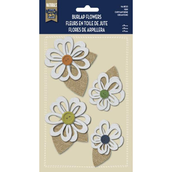 Burlap Stickers with Button Accents - Mum