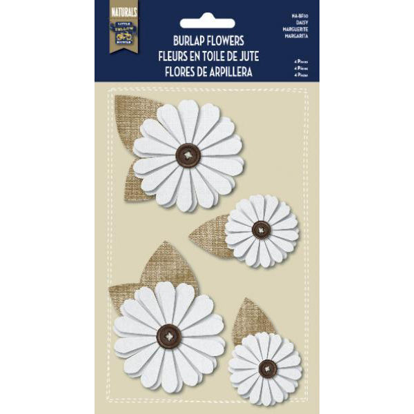 Burlap Stickers with Button Accents - Daisy