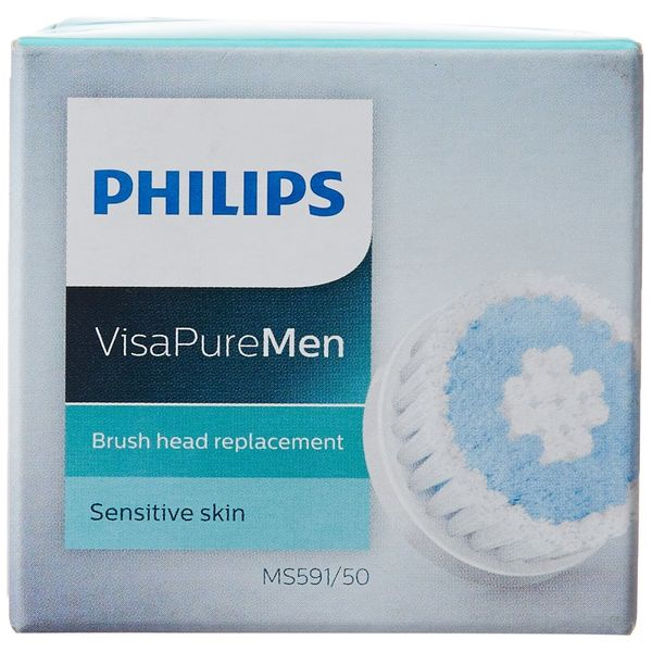 Philips Visa Pure MS591/50 Men Brush Head Replacement for Sensitive Skin (Blue/White)