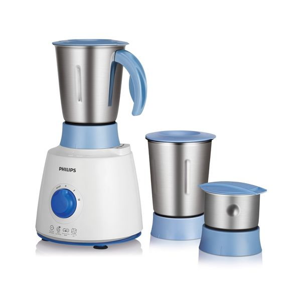 Philips HL7610/04 500 W Mixer Grinder  (White and Blue, 3 Jars)