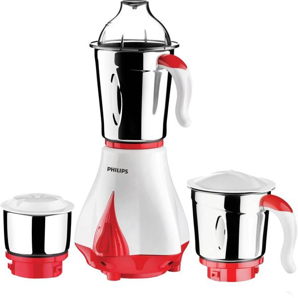 Philips HL7510/00 550 W Mixer Grinder  (White, Red, 3 Jars) (Unboxed)