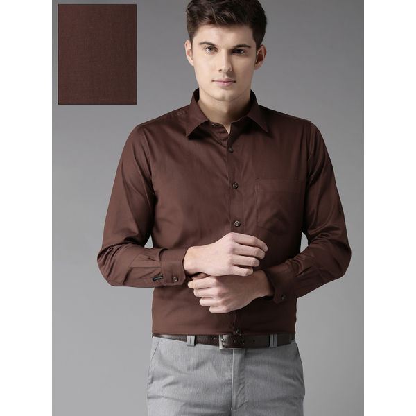 3f8390d6120e Sale Men s Coffee Brown Comfort Regular Fit Solid Formal Shirt