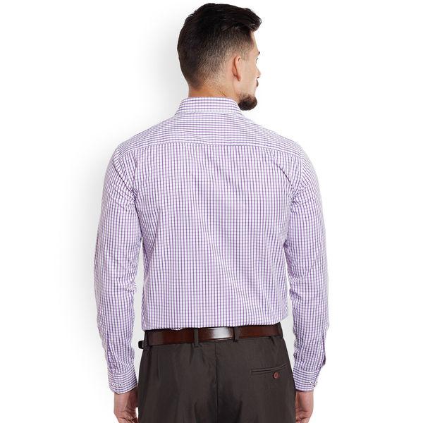 DENNISON Men White   Purple Regular Fit Checked Formal Shirt 51e5dd9ae
