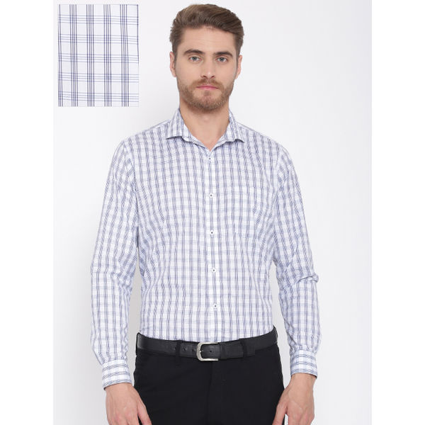 572d17b9f31a0 Sale DENNISON Men s Cotton Enriched White   Navy Blue Regular Fit Checked Formal  Shirt