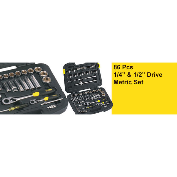 "STANLEY 86 Pcs 1/4"" & 1/2"" Drive Metric Set Mechanic Tool Kits,14Pc 1/4"" Drive 6 Point Metric Sockets : 3.5, 4, 4.5, 5, 5.5, 6, 7, 8, 9, 10, 11, 12, 13, 14mm.8Pc 1/4"" Drive Deep 6 Point Metric Sockets : 6, 7, 8, 9, 10, 11, 12, 13mm"