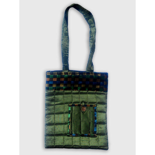 Quillted Laptop Sling Bag, Green