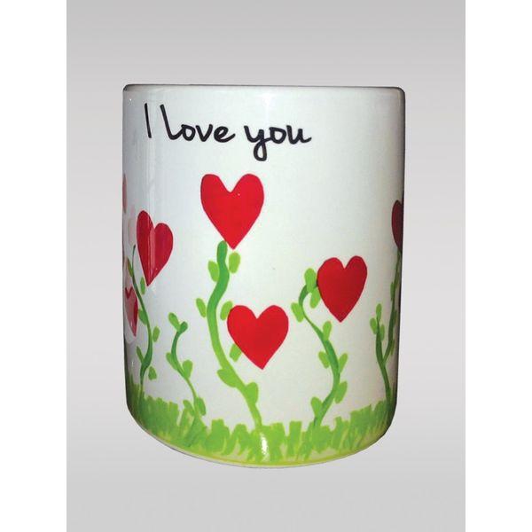 Love Coffee Mug With Heart Plants, White