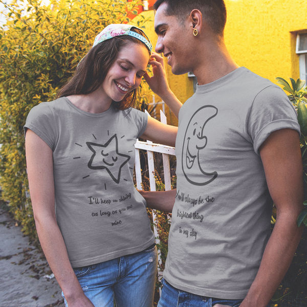 Half Moon And Stars Crew Neck T-Shirt for Women