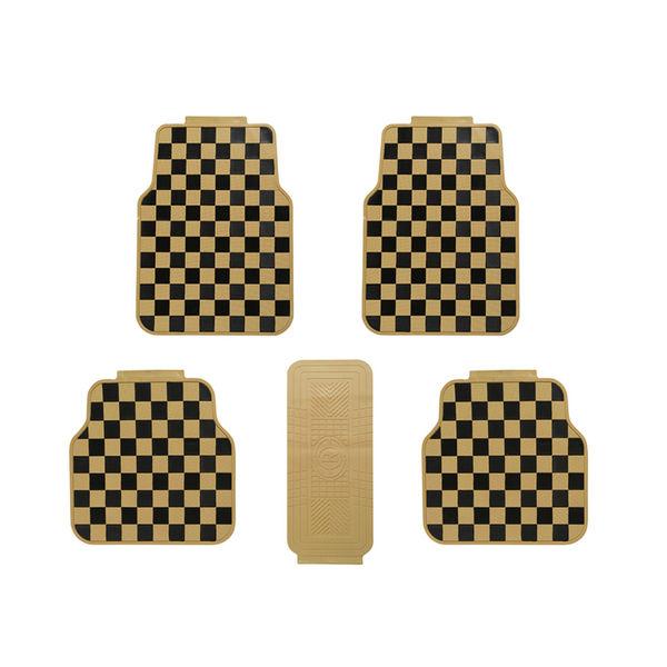 Speedwav Checkered Flag Car Floor Mats Set Of 4 Beige And Black 282786