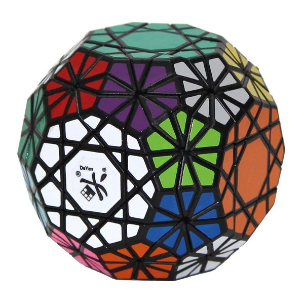 a huge rubiks cube shaped as a triacontagon or a pentagon with 30 sides