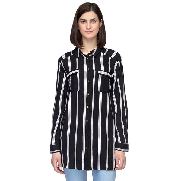 9456566d7 Buy Oxolloxo Black Button-down Striped Shirt | S17515wsh001 ...