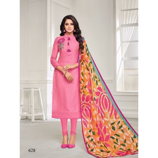 9bf36a991c Chanderi Cotton Pink Semi-stitched Dress Material