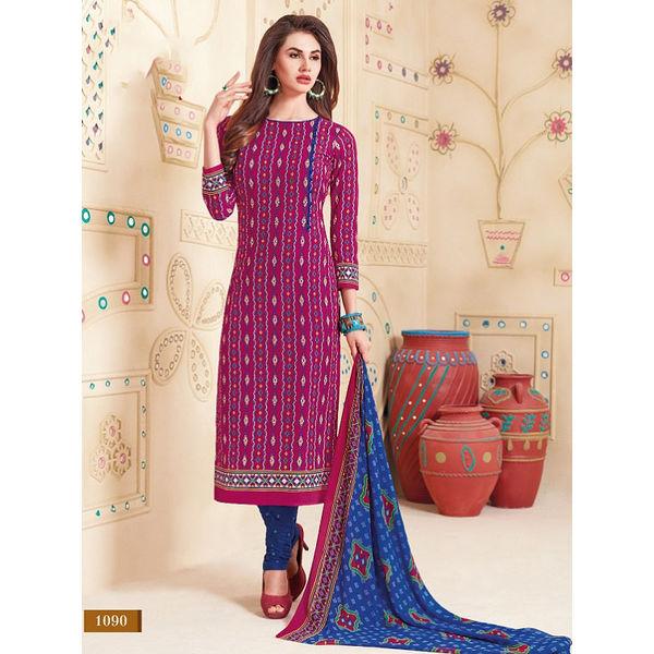 8f0248a696 Cotton Dress material with chiffon dupatta D.no. 1090