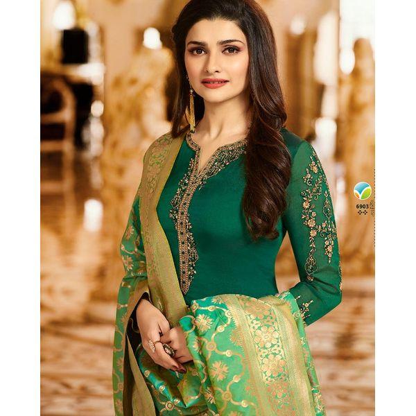 f965b6f33e Silk-Crepe Green Suit with Banarasi Dupatta