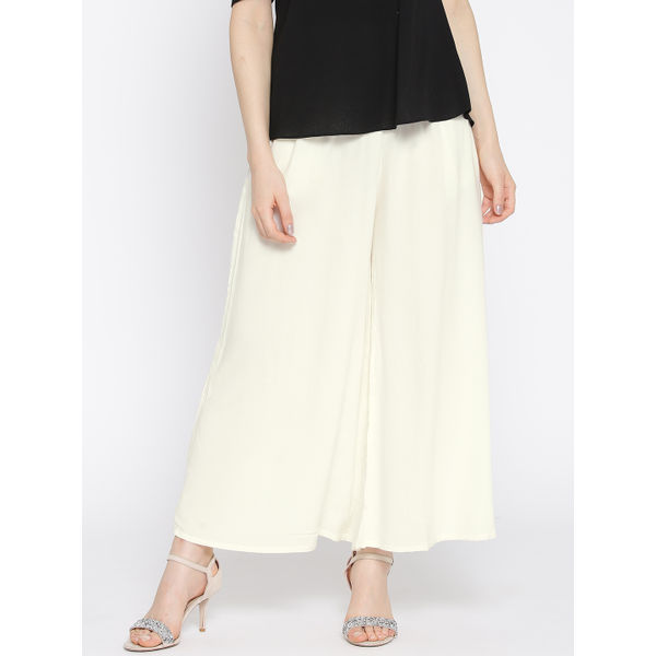d4af44c558bc65 Lux Lyra Rayon Palazzo Pants for Women_Off White Free Size