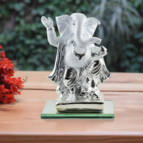 Shri Ganesha Idol Standing Posture White Silver