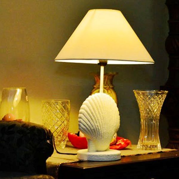 Unique Table Lamp With A Oyster Shell Base