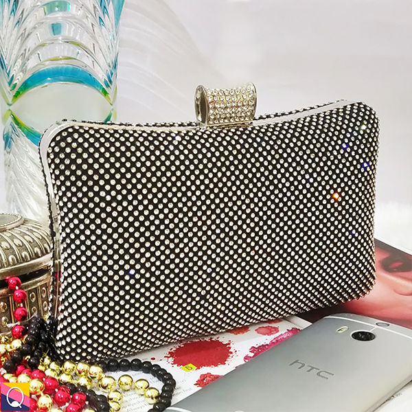 retro look for large assortment Black Stone Studded Big Clutch Bag