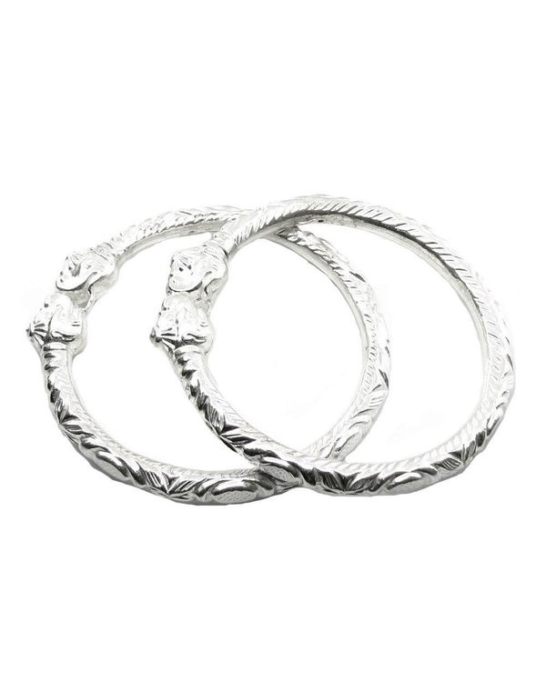 Elephant Face Real Silver Bangles Bracelet Pair Size 2 8