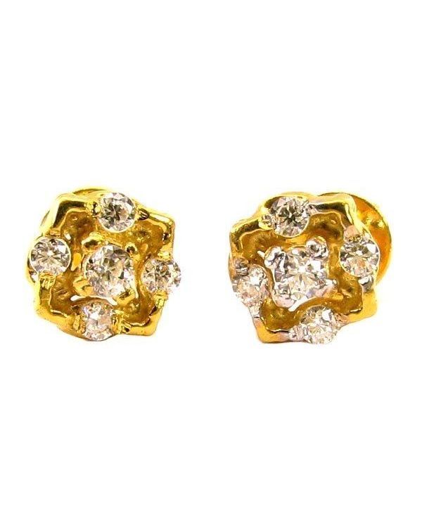 Ethnic Indian Cz Studded Ear Studs Pair 14k Solid Real Gold Back