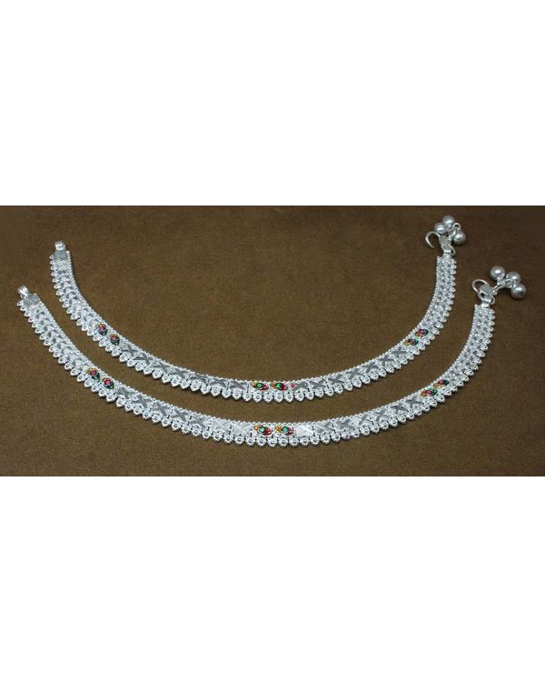 44036215b9d Sterling Silver Anklets for Women Indian Ankle chain bracelet cuff band 10