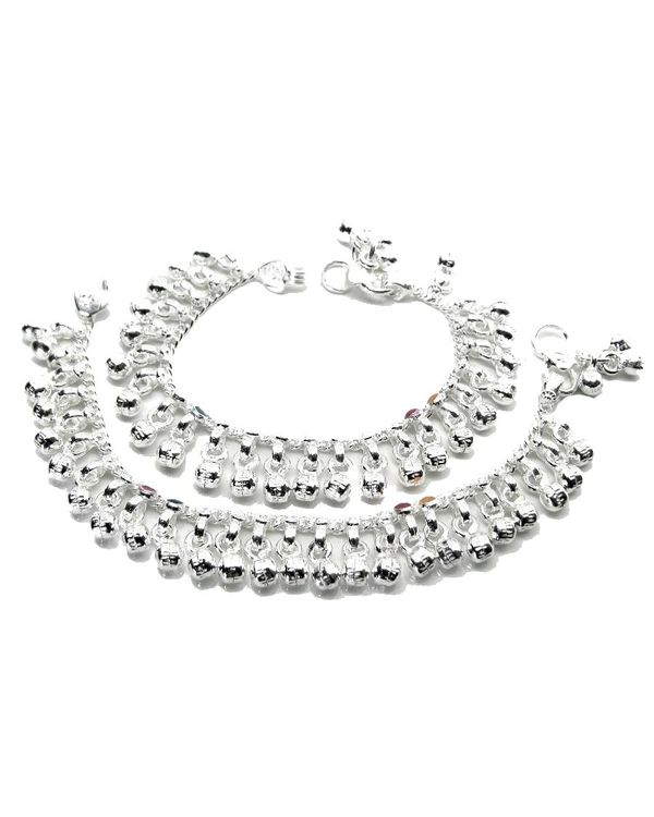 multistranded oomph mini india in buy online studded anklets stone silver anklet toned