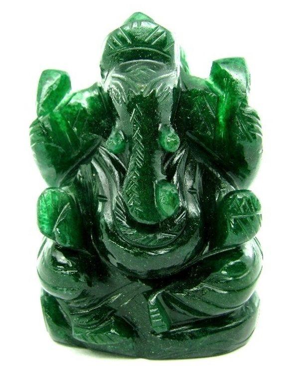 ganesha god idol hindu deity aventurine quartz carved