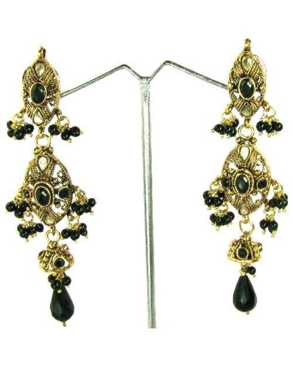 Black Beauty Gold Plated Fashion Jewelry Polki Work Dangle
