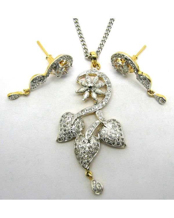 Two tone cz simulated diamond pendant earrings set free chain mozeypictures Images