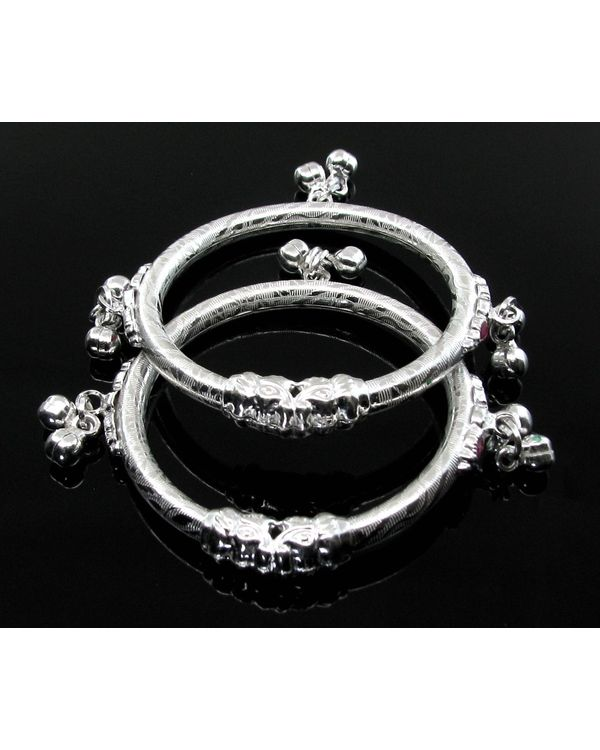 Elephant Face Real Silver Kids Bangles Bracelet With Jingle Bells Pair