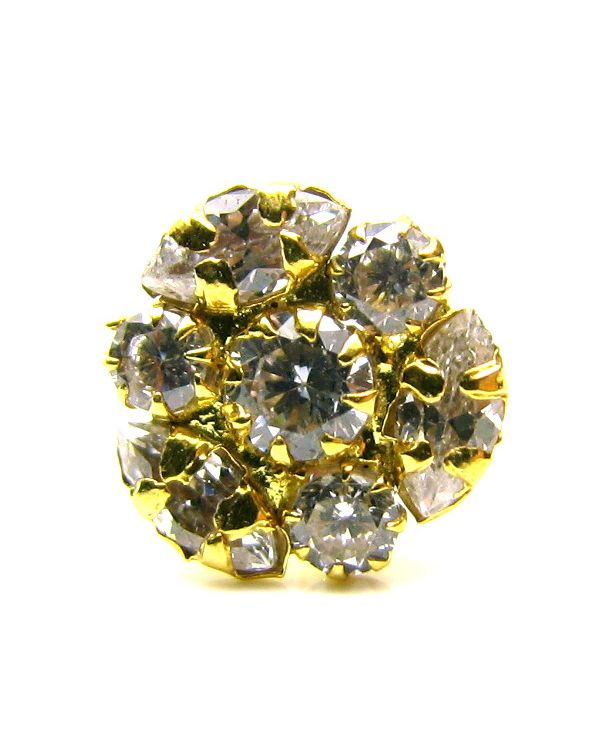 14K Solid Yellow//White Gold Round Ball Nose Ring Bone Stud Body Jewelry Piercing