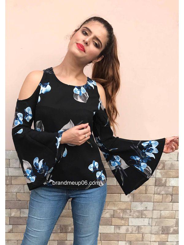 c744586c2ef2c Bell Sleeves Floral Cold Shoulder Top