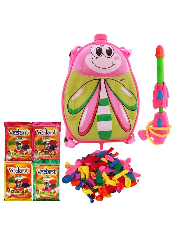 Summer Toy Water Pichkari BACK PACK CARTOON Tank Squirter F37 With Gulal Ballloons