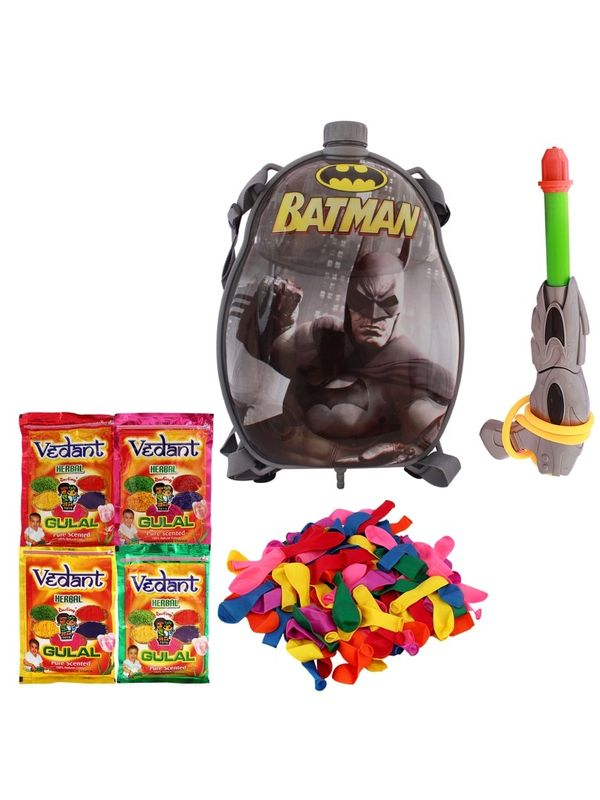 Summer Toy Water Pichkari BACK PACK CARTOON Tank Squirter F8 With Gulal Ballloons