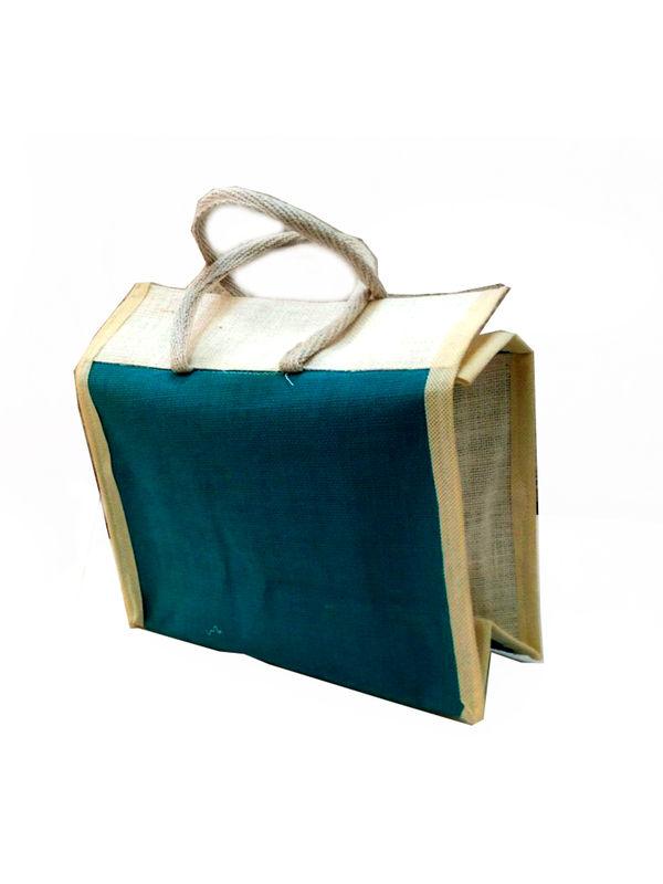 3e12d3f34 Jute Flap Lunch bag with bottle pocket bag