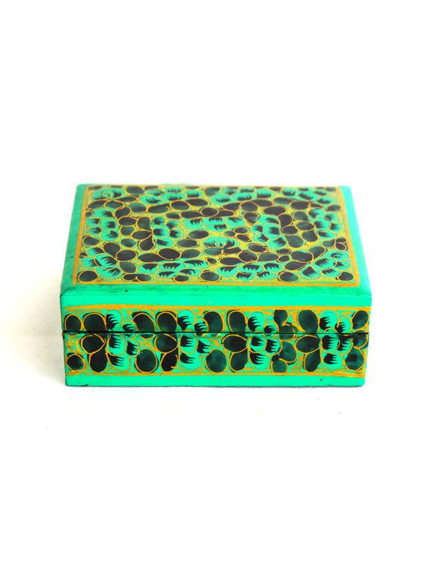 Kashmiri Beautiful Decorative Flat Box Extra Small Green With Black Flowers