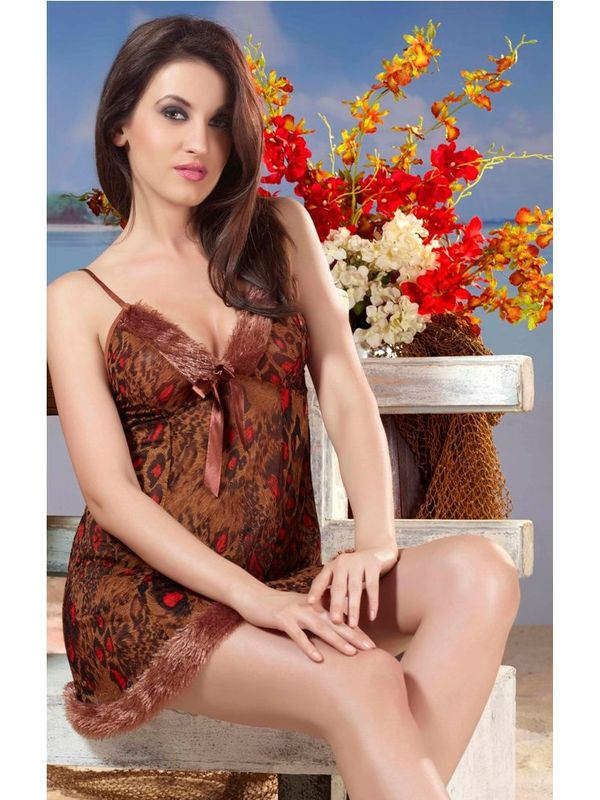 Lacy Leopard Print Nightdress- Brown