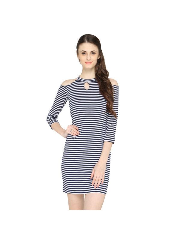 Blue Strips Halter Dress