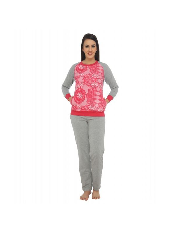 Grey with pink lace nightsuit