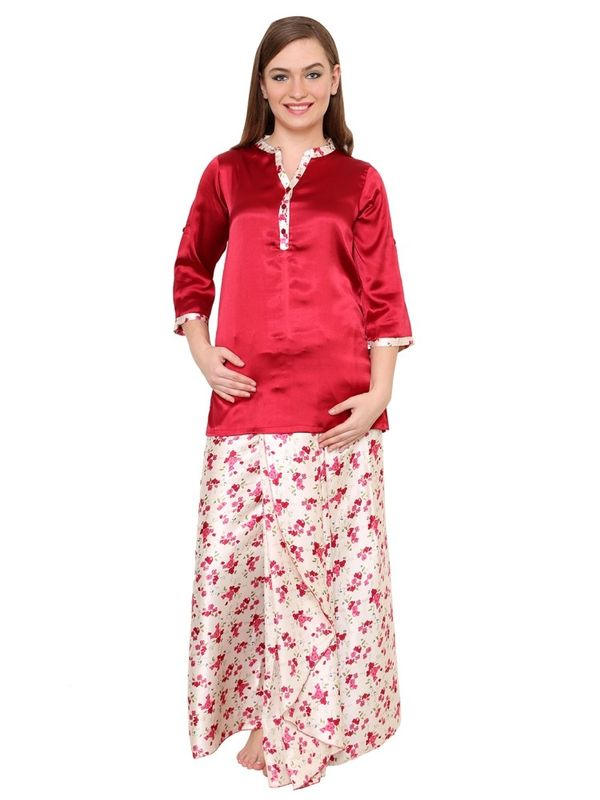 Wine Satin Lungi Kurta Night Suit