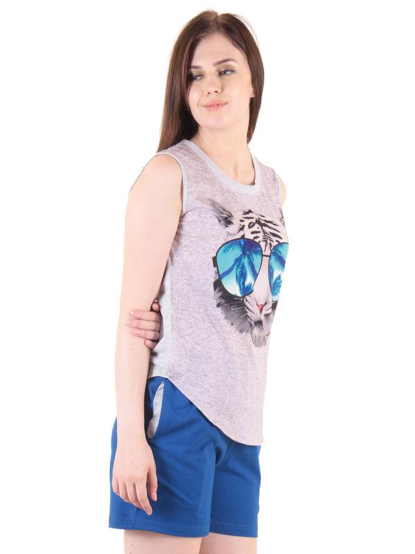 Blue Hosiery Top & Shorts