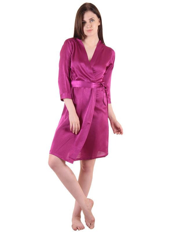 Purple Satin Short Robe