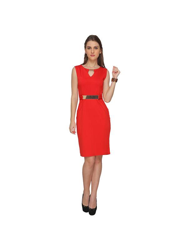 Sequined V-Neck Red Dress