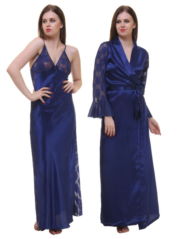 Navy blue Satin 2Pcs Set